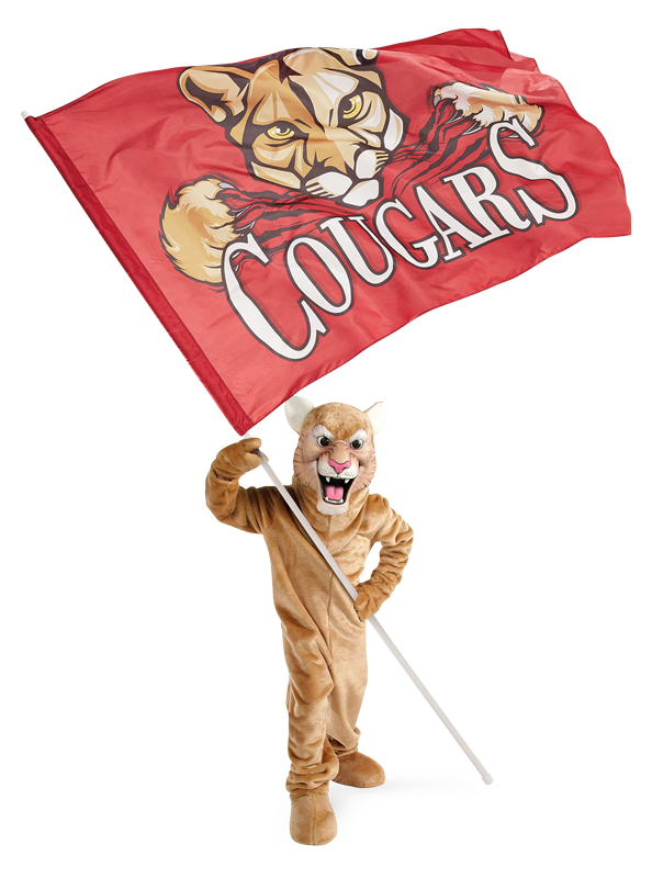 A cougar mascot holding a 10ft field runner flag.