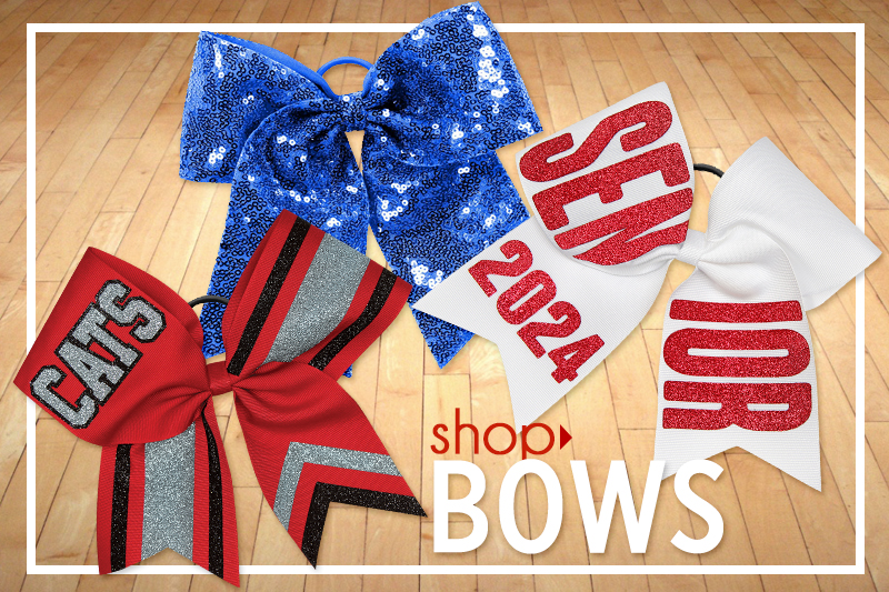 Shop our selection of In Stock Cheer Bows, Dye-sublimated Cheer Bows, & Custom Cheer Bows