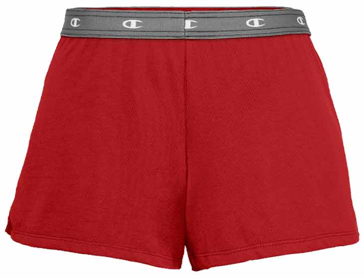 flat image of the Champion Essential Short in red with a grey elestic waist band that has the Champion C logo on it.