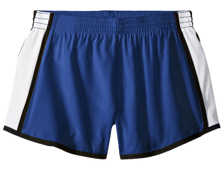 flat image of the Augusta Pulse Short in royal and white with black trim.