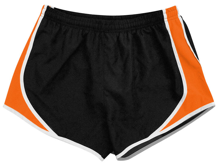 flat image of the Pennant Team Short in black and orange with white trim.