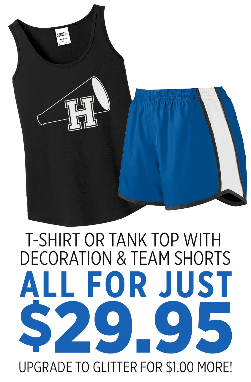 black t-shirt that has an H with a megaphone, paired with royal blue shorts. Text reads: JUST $29.95, upgrade to glitter for just $1.00 more!