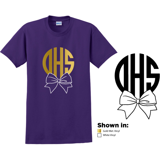 Example of design 1, circular monogram OHS in metallic gold with a white bow at the bottom on a purple short sleeve t-shirt