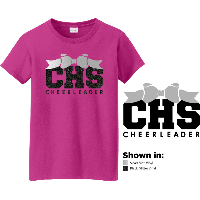 Example of design 2, a metallic silver bow over school initals CHS and cheerleader in black glitter on a heliconia colored short sleeve t-shirt