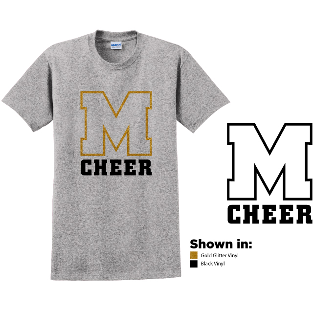 Example of design 4, gold glitter M over the word CHEER in black on a royal blue colored short sleeve t-shirt