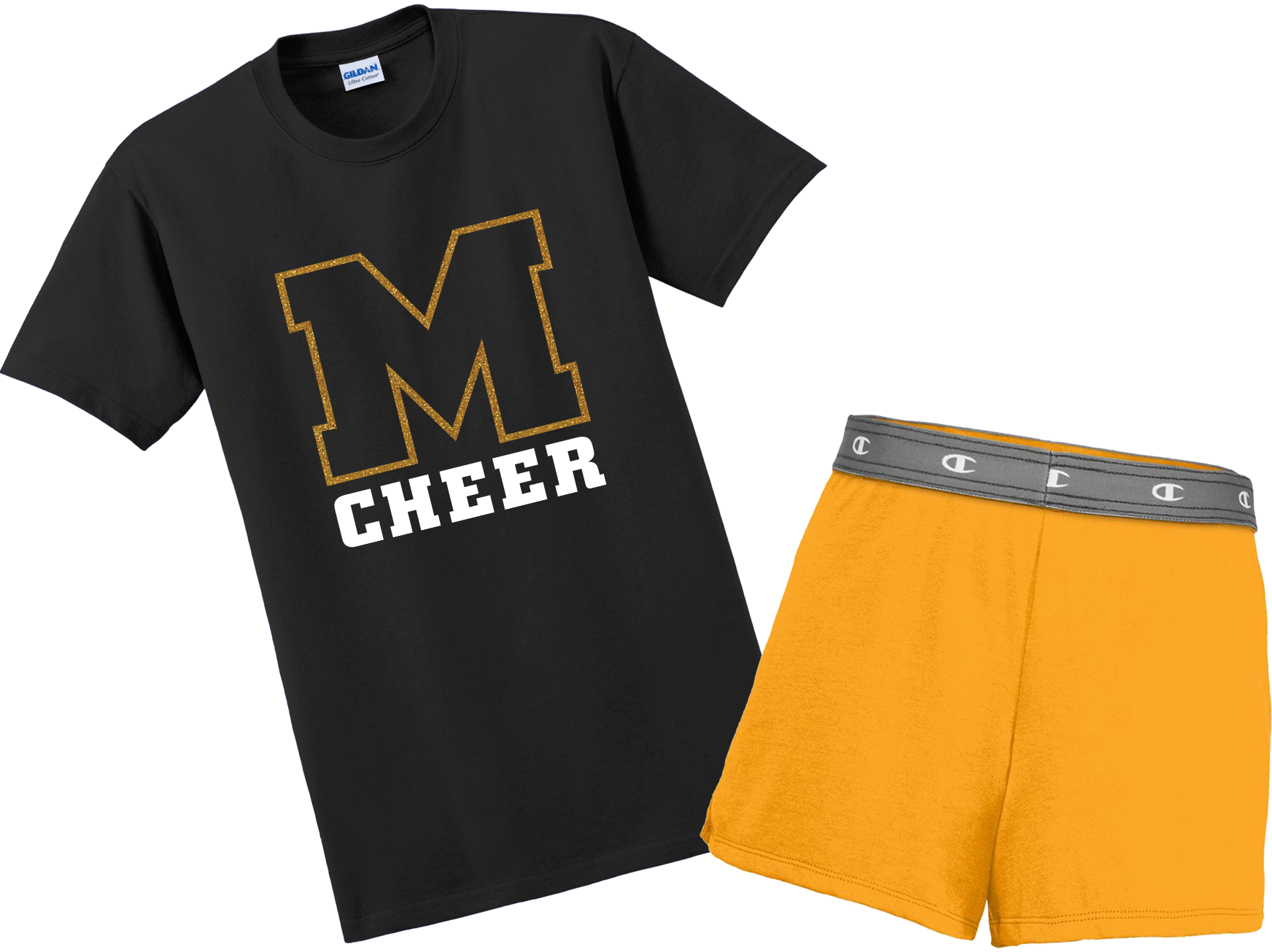 black t-shirt that reads M Cheerleading, paired with gold shorts. Text reads: JUST $29.95, upgrade to glitter for just $2.00 more!
